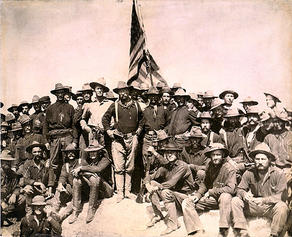 Future US President Theodore Roosevelt with the Rough Riders during the Spanish American war. The story was part of the mythology of hero and the great leader.