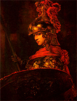 Pallas Athena. Patron Goddess of the ancient city state of Athens. Work attributed to Rembrandt