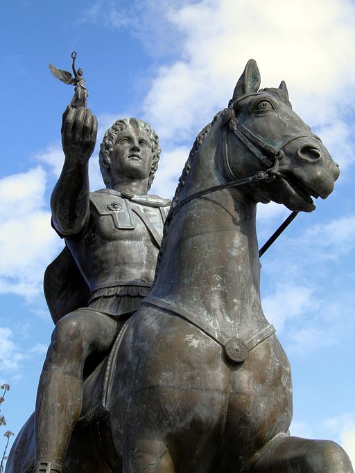 Statue of Alexander the Great riding Bucephalus and carrying a winged statue of Nike (square of Alexander the Great) in Pella city. Image by: Carole Raddato