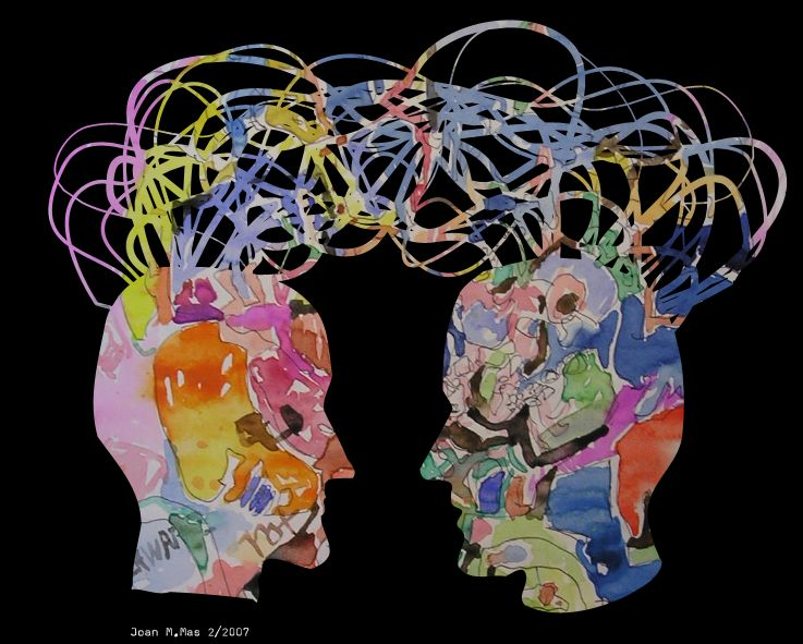 Image by: Mas. A symbolic representation of two people communicating.
