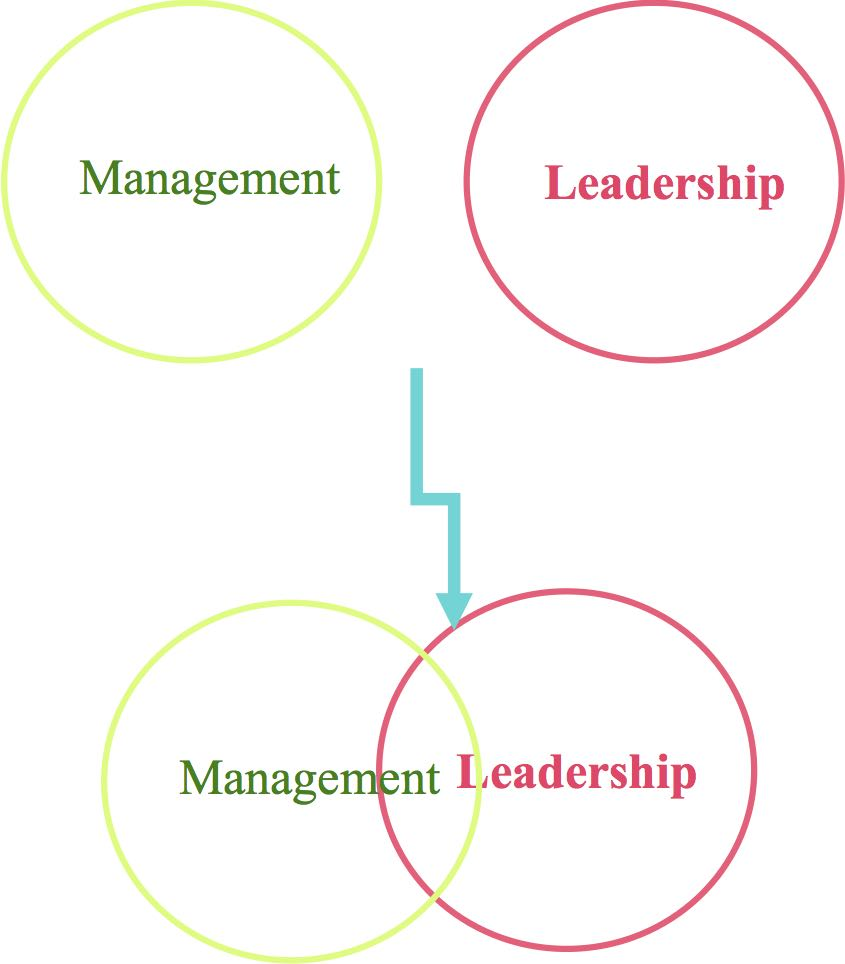 Typically leadership and management functions do not overlap. In some cases, such as project management and delegation they do.