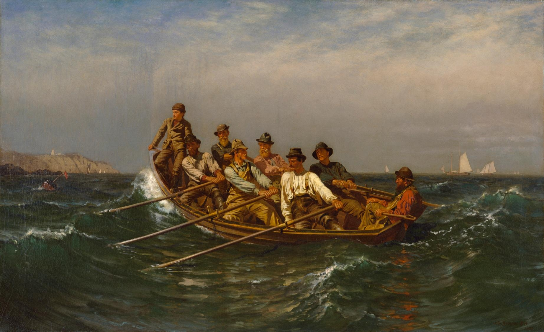 Painting is symbolic of how each person in a high performing group doing their job. Notice that you have a boss in the group who is not doing anything. John George Brown (1831–1913): All Pull Together
